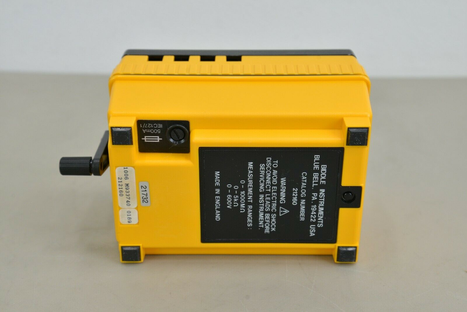 Biddle Megger Hand Crank Insulation Tester Model 212160 21732 Rhino Trade Llc